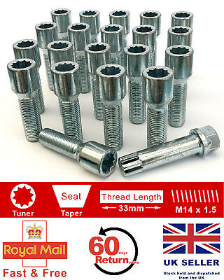 20 x Tuner bolts M14 x 1.5, extended 33mm for Aftermarket alloy wheels. Vauxhall