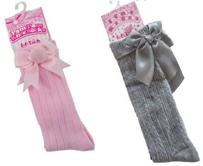 Baby Girls Ribbed Knee High Socks Soft Touch Pink Pom Pom Grey Bow 0-18 Months