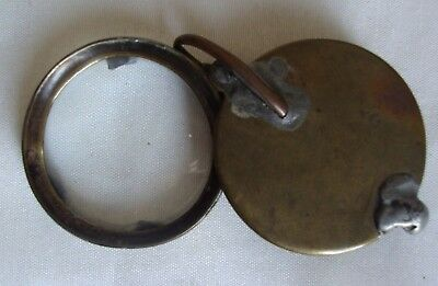 Rare Primitive Antique VTG solid brass folding powerful Magnifying Glass Loupe