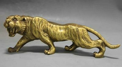 Chinese Fengshui Copper brass Animal Zodiac Year Lucky Tiger Statue  sl