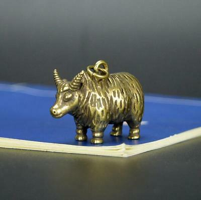 Chinese Old Collectibles Pure brass Zodiac cattle sheep small pendant sl