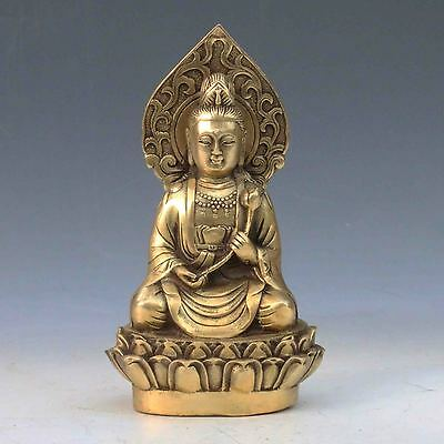 Chinese Antique Brass Hand-carved Guanyin statue Qing Dynasty  s