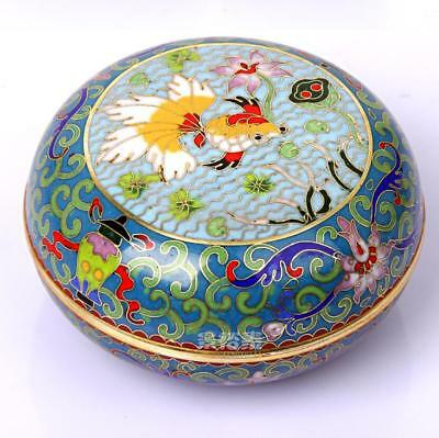 China antique handmade qianlong bronze cloisonne enamel painting fish Boxes sl