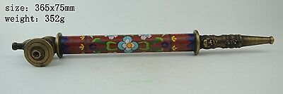 Collectible Decorated Cloisonne Handwork Flower Smoking Pipe  sl