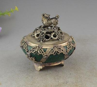 Chinese characteristics jade old retro hand carved kylin incense burner s