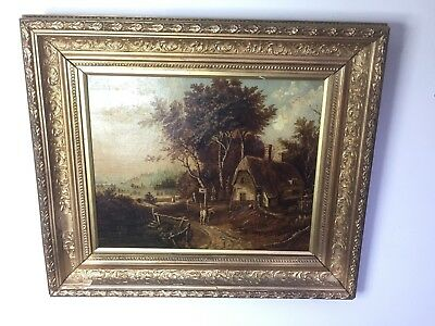 Antique 19th Cent Oil Painting. figures in Landscape.Gilt Gesso Frame T H Thomas