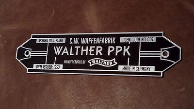 Custom Walther Ppk Serial Data Specifications Plate James Bond 007