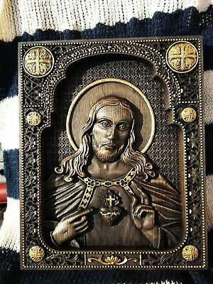 Sacred Heart of Jesus WOOD CARVED CHRISTIAN ICON RELIGIOUS WALL HANGING ART WORK