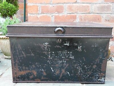 Antique Vintage Original Signwritten Metal Deed Box in Black with Brass Lock