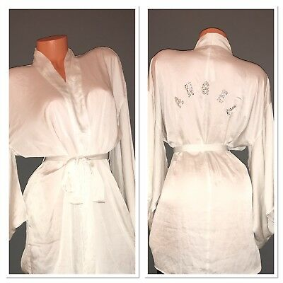 e26da289a64 Victoria s Secret Dream Angels Rhinestone Short Satin Kimono Robe White XS S