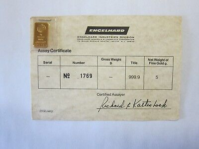 Engelhard 5g gold bar with original assay certificate.