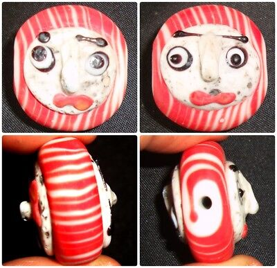 Ancient Phoenician Double Red Face Bead Islamic Mosaic Glass Pendant 622