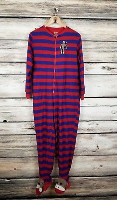 b8c0916866aa NICK   NORA Sock Monkey Footie Pajama Footed PJ Striped Union Suit ...