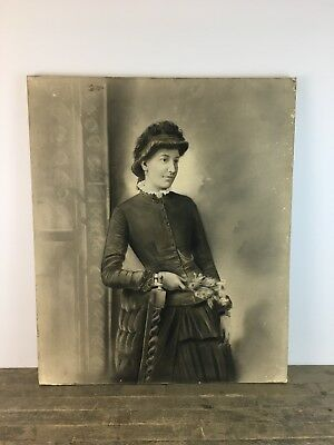 Vintage Charcoal Canvas Painting Portrait Of Early 20th Century Women.