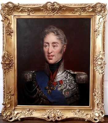Portrait of  Charles X 19th Century Amazing Antique Oil Painting