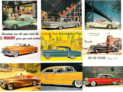 Car 9 Postcard Lot B 1950s American Automobile Advertising Art Cadillac Ford