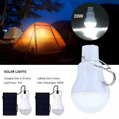 20W SOLAR PANEL LED Light Bulb Indoor Outdoor Camping Tent Shed Emergency  Lamp