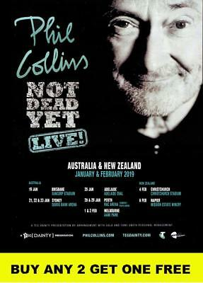 PHIL COLLINS 2019  'Not Dead Yet'  Laminated Australian Tour Poster
