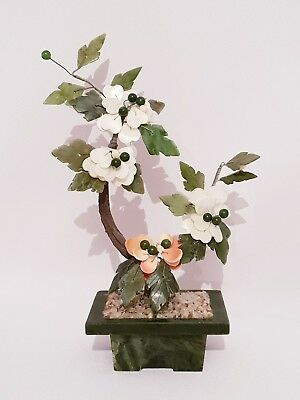 "Vintage Chinese Jade Bonsai Flower Tree 10"" Inches Tall Semi Precious Stone"