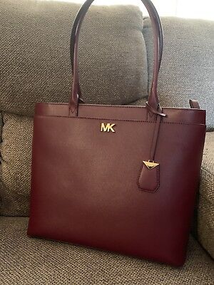 8a9a95458e19 MICHAEL KORS MADDIE Crossgrain Leather Tote Ox Blood - $128.00 ...
