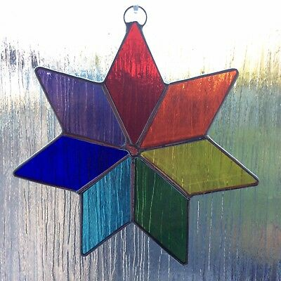 Large Rainbow Chakra Stained Glass Star