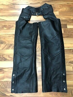 Harley Davidson Black Leather Chaps Mens Size Small Adjustable Outlaw HD-253 GUC
