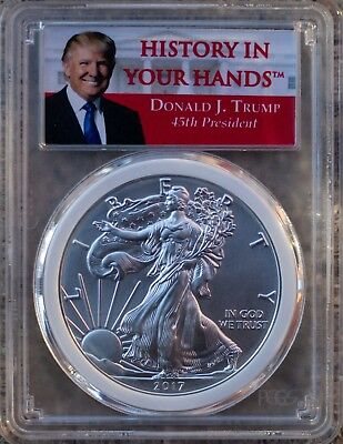 2017 American Silver Eagle $1 PCGS MS70 First Strike Donald Trump *White Gasket*