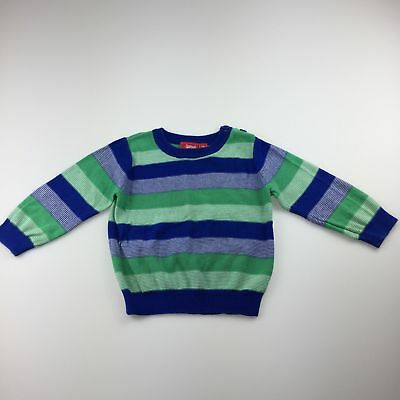Boys size 1, Sprout, blue & green stripe cotton knit jumper / sweater, GUC