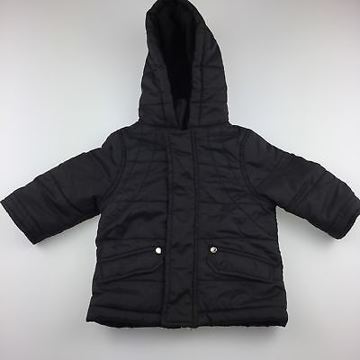 Boys size 00, Cotton On, puffer jacket, fleece lined hood, zip & popper, GUC