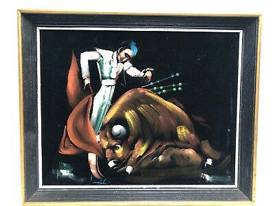 Vintage Framed Black Velvet Painting Bull Fighter Matador W/Glitter 16X20