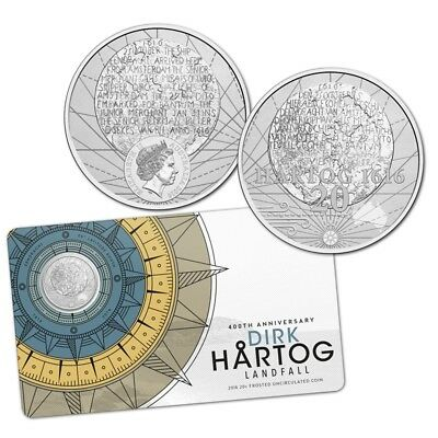 2016  FROSTED UNCIRCULATED 20c COIN - 400TH. ANNIVERSARY DIRK HARTOG LANDFALL