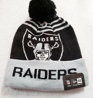 OAKLAND RAIDERS Knit Beanie Hat NFL Cuffed WOVEN BIGGIE NEW ERA Authentic  NWT 6b3328c6f