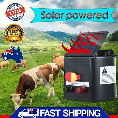 5km Solar Electric Fence Energiser Energizer Charger 0.15J Farm Poly Wire Adjust