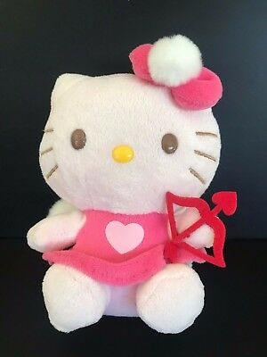 TY HELLO KITTY Heart BOW   ARROW Angel VALENTINE BEANIE BABY Pink Fur Wings e7603a451dfc