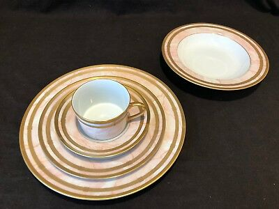 Christian Dior Marbre Rose 5 Piece Place Setting Dinner Salad Plate Soup Cup