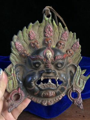 "6"" China old Antique Tibet copper hand carved Kalachakra mask"