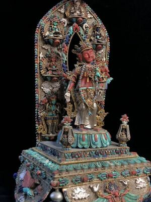 "19"" China old Antique Tibet Handmade bronze Gem inlay Green Tara statue"
