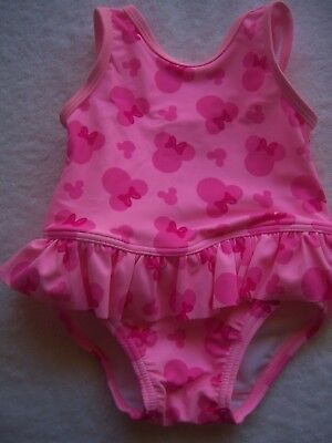 BNWT Baby Girl's Minnie Mouse Pink Swimsuit/Swimmers/Bathers Size 00 & 0
