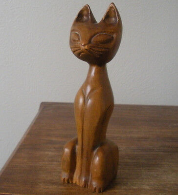 "VTG Carved Wood Cat Siamese Asian 8.5"" Figure Medium Finish"