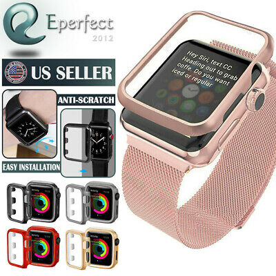 Fr Apple Watch Series 4 40mm 44mm Snap On Protect Plated Hard Bumper Case Cover