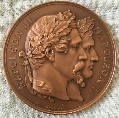 70 mm FRANCE BRONZE MEDAL Napoleon I and Napoleon III by F.A. Oudine
