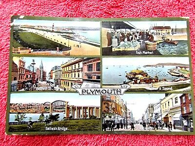 Six  Views  Of  Plymouth  G.b. Colour  Postcard  [480]