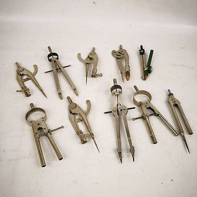 10 Vintage Compass Protractor Drafting Lot