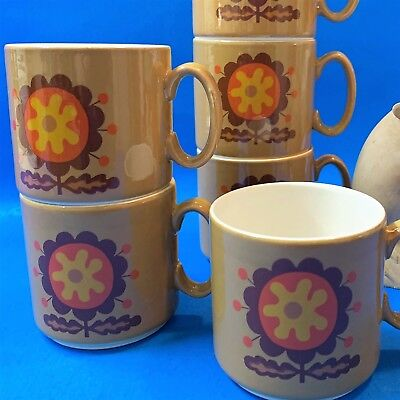 Retro Pagossin, Italy - Set x 6 Stackable Mugs #757- Mustard Orange Brown Flower