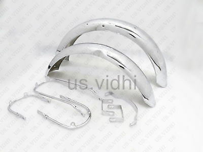 New Triumph T140 Chrome  Mud Guard Fender Set With Stay Kit