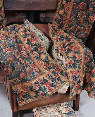 Antique French Hand Printed Portiere Chateau Curtain Indienne Chintz Linen