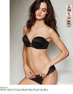 a307f094176e9 NEW Victoria s Secret BOMBSHELL TWO CUPS MULTIWAY Pushup Bra 34A BLACK