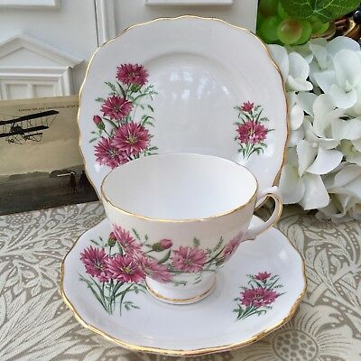 ROYAL VALE 1960s TRIO SET PINK CORNFLOWER - GILDED BONE CHINA - CUP SAUCER PLATE