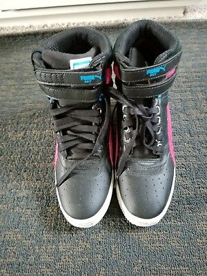 e81528d07d6 WOMENS PUMA CONTACT Sky High Black Pink Wedge Sneakers. Size 6 ...