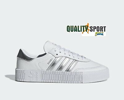 newest collection 60e44 a7fa6 Adidas Sambarose Bianco Argento Scarpe Donna Sportive Sneakers EE9017 2019